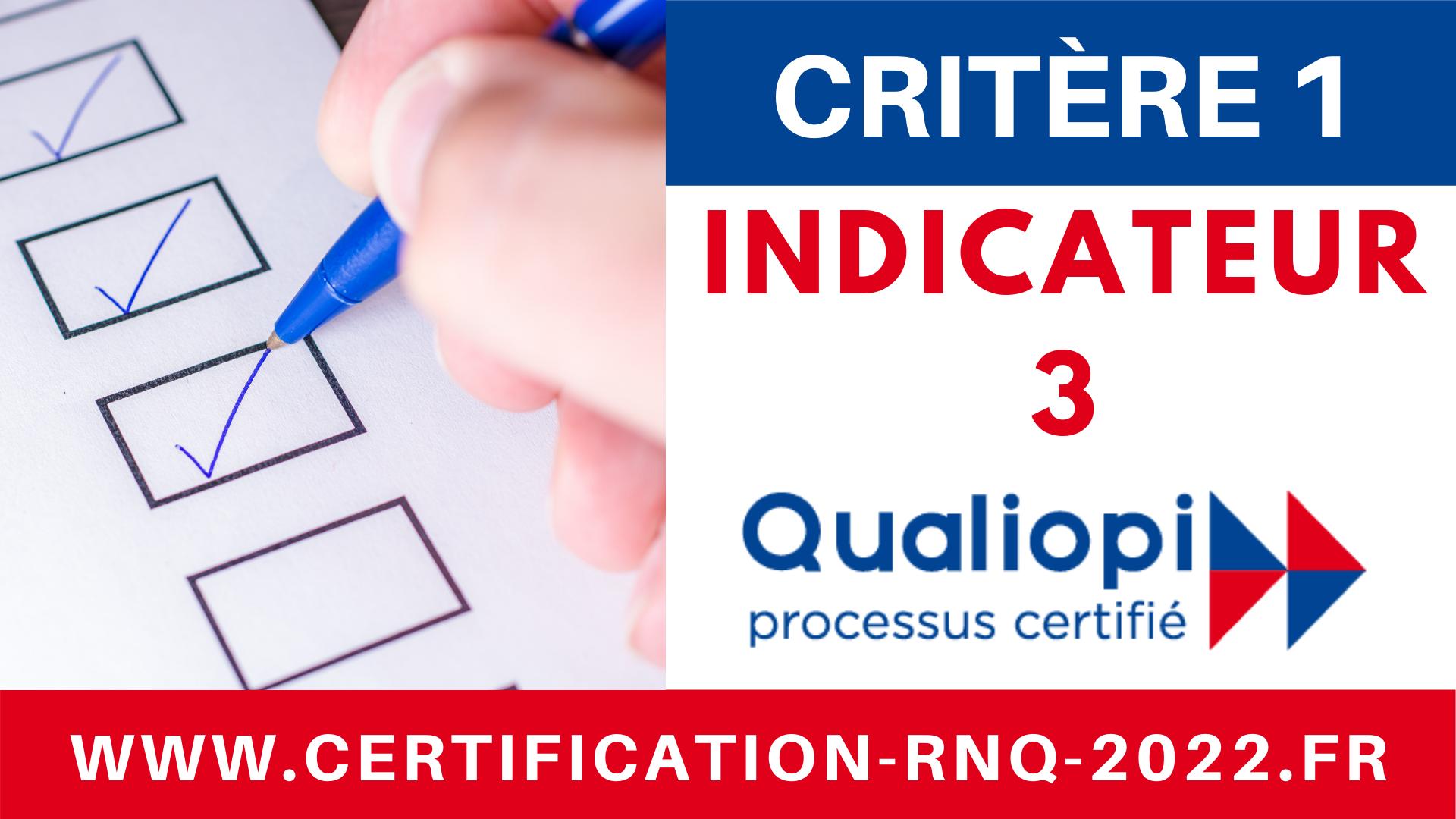 Indicateur 3 QUALIOPI - RNQ - Référentiel unique